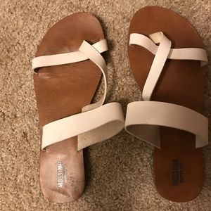White and brown strappy sandals, worn once